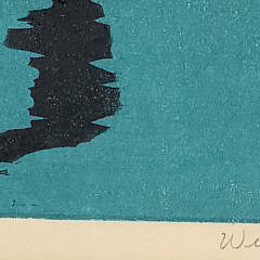 """Vintage Limited Edition William Dickson Nantucket Wood Block Print, """"Pier Reflections"""""""