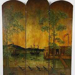 Vintage 1920s Hand Decorated Three Panel Room Divider