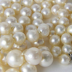 Graduated Cultured Pearl, Emerald and Diamond Double Strand Necklace