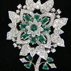 Fine Vintage Emerald and Diamond Flower Brooch