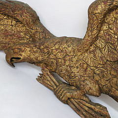 Large and Heroic Carved Giltwood Spread Winged American Eagle Plaque