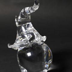 Large Vintage Signed Steuben clear Crystal Glass Trumpeting Elephant Figure