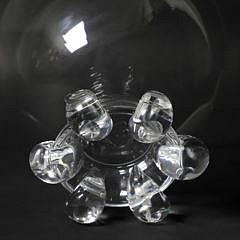 Large Vintage Signed Steuben Clear Crystal Glass Centerpiece Bowl