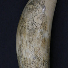 Scrimshaw and Stippled Antique Sperm Whale Tooth, circa 1860