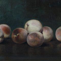 "Lemuel Everett Wilmarth Oil on Linen ""Still Life of White Peaches on a Tabletop"""