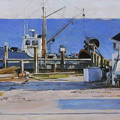 "Peter E. Poskas III Oil on Board ""Wharf at Noank"""