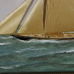 """Thomas WIllis Oil and Silk Embroidery on Painted Canvas of the American Sloop """"Zinita"""""""
