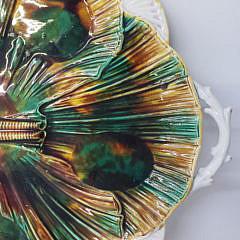Antique Majolica Shell Form Serving Platter