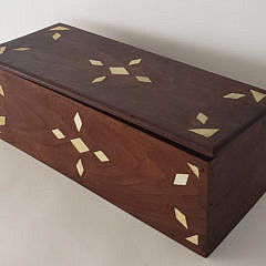 Antique Sailor Made Whale Ivory Inlaid Mahogany Box, 19th Century