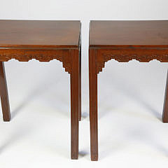 Pair of Antique Chinese Carved Teakwood Side Tables
