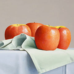 """Janet Rickus Oil on Board """"Apples on Clothed Table Top"""""""