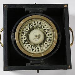 E. S. Ritchie & Sons, Boston, Compass in Custom Mahogany Dovetailed Box
