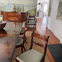 Double Pedestal Mahogany Dining Table and Eight 19th Century Chairs