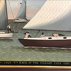 """Ralph Cahoon Jr. Oil on Masonite """"July 4th Race of the Crosby Cats, 1880"""""""