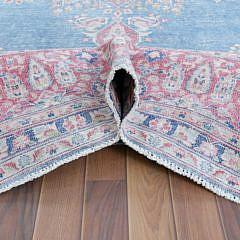 Hand Knotted Bohemian Blue Persian Wool Kerman Carpet, circa 1940s