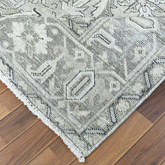 Vintage Stone Washed Grey Persian Heriz Wool Carpet