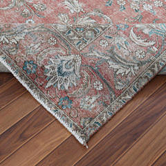 Hand Knotted Vintage Red Persian Sheared Wool Tabriz Carpet