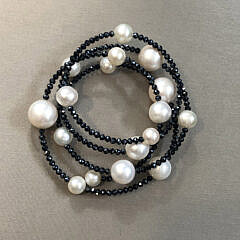 10mm x 6mm White Cultured Pearl and Spinel Flexible Bracelet