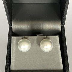 Fine Pair of 13mm White South Sea Pearl Earrings, 14k Gold