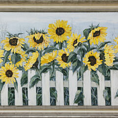 """Roy Bailey Oil on Canvas """"Sunflowers Before a White Picket Fence"""""""