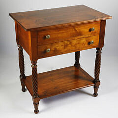 Leonard's Tiger Maple Two Drawer Table, 20th Century