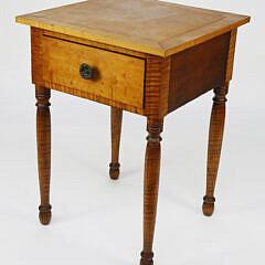 American Tiger Maple Sheraton One Drawer Work Stand, Circa 1820