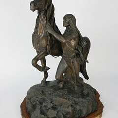 "Lyle E. Johnson Patina Bronze Figural Sculpture ""Man The Builder"", 20th Century"