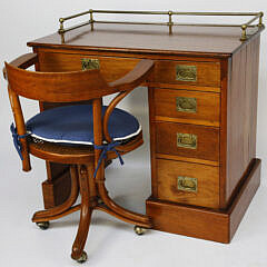 Teak and Mahogany Ship's Cabin Desk and Chair