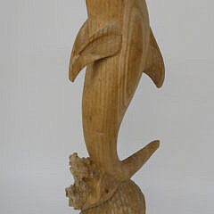 Contemporary Carved Wood Dolphin Sculpture