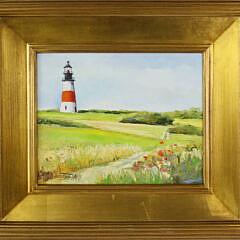 """L. Ireland Oil on Board """"Sankaty Light Nantucket"""""""